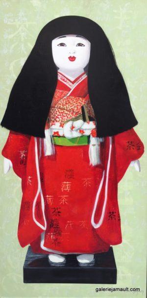 Tableau de Pauline Gagnon artiste Canadienne, CHISAKU, inspiré des poupées japonaises