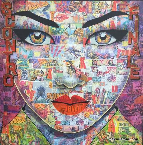 Tableau de Pauline Gagnon, collages et acrylique, portrait
