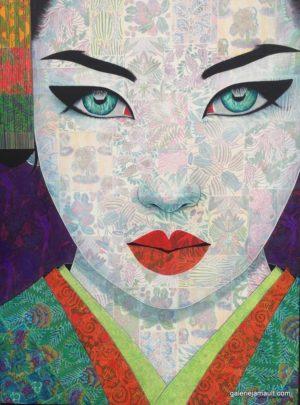 Tableau de Pauline Gagnon, portrait féminin, yeux bleus