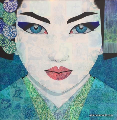 Tableau de Pauline Gagnon, portrait féminin dans les tons bleus