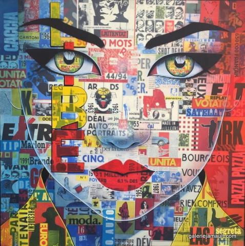 Peinture de Pauline Gagnon, format carré, tons bleu-blanc-rouge