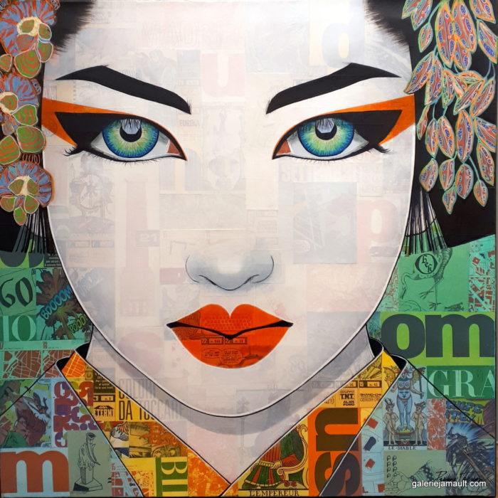 Tableau de Pauline Gagnon, portrait femme, carré