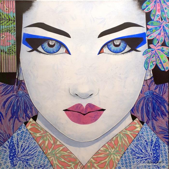 Tableau de Pauline Gagnon, portrait femme, carré, tons bleu et violet