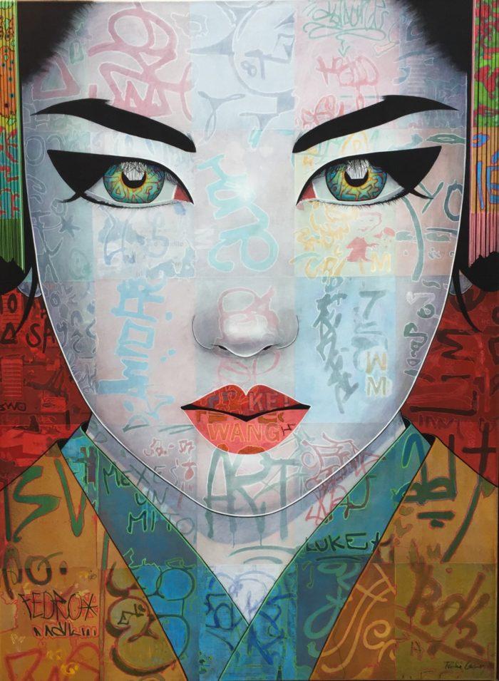 Tableau de Pauline Gagnon, portrait féminin vertical avec tags graffitis