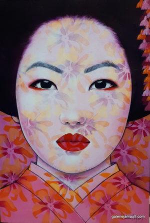 Portrait féminin dans les tons rose/orangés