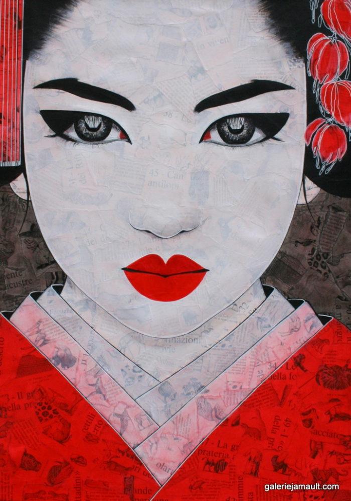 Tableau de Pauline Gagnon, portrait féminin noir-rouge-gris