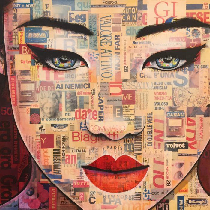 Tableau de Pauline Gagnon, portrait féminin de format carré