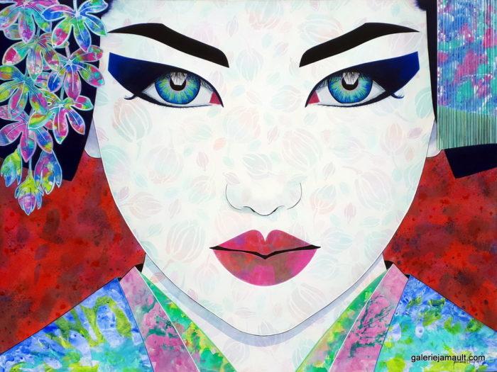 Tableau de Pauline GAGNON, portrait asiatique sur fond rouge, format paysage.