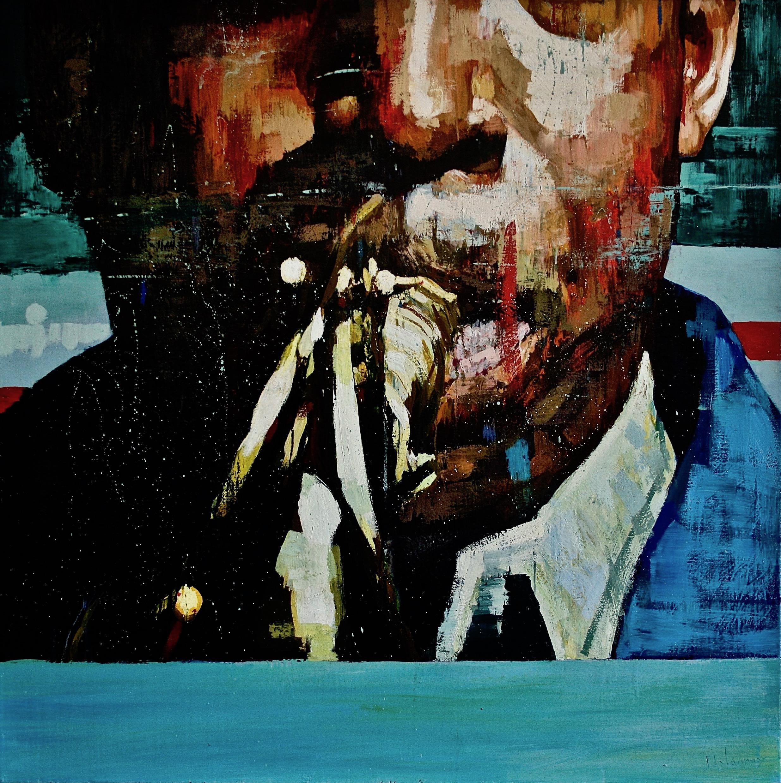 Peinture de Patrick Delaunay, issue de sa série Jazz, représentant un portrait de Coltrane