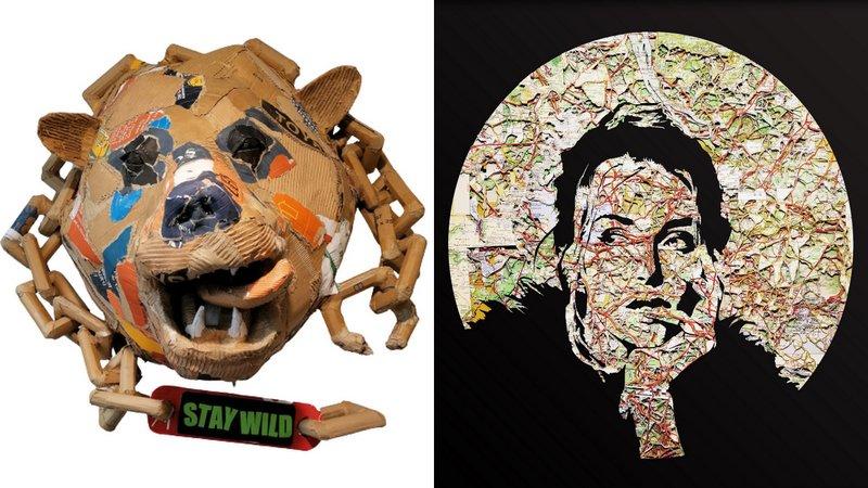 Deux œuvres représentatives du travail de l'artiste plasticien Joanathan Bessaci